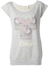 Chloe Raw Edge Toucan Sweatshirt Grey