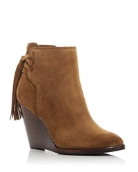 Frye Cece Tassel Lace Wedge Booties Cashew