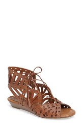 Jessica Simpson Women's Lalaine Ghillie Lace Sandal Burnt Umber Leather