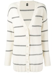 Eleventy Striped Cardigan Women Cotton Polyamide M White