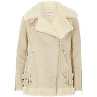 River Island Womens Cream Faux Suede Aviator Jacket