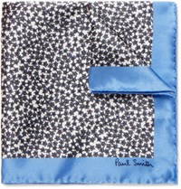 Paul Smith Floral Print Silk Pocket Square Blue