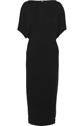 Vionnet Draped Leather Trimmed Jersey Midi Dress Black