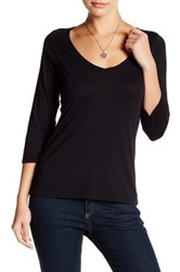 14Th And Union 3 4 Sleeve V Neck Shirt Petite Black