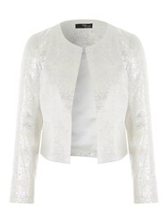 Jane Norman Metallic Long Sleeve Jacket White