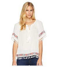 Rock And Roll Cowgirl 3 4 Sleeve Top B4 6067 White Clothing