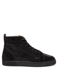 Christian Louboutin Rantus Crystal Embellished High Top Suede Trainers Black