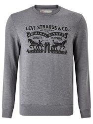 Levi's Two Horse Graphic Crew Neck Sweatshirt Carpark Grey