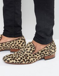 Jeffery West Yung Leopard Smart Loafers Tan