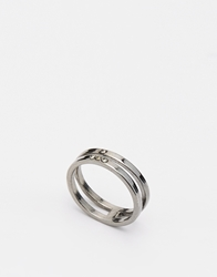 Pieces Phiala Two Bar Ring Silver
