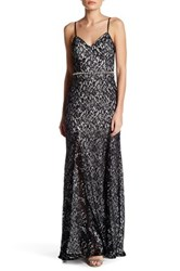 Sequin Hearts Open Back Lace Gown Black