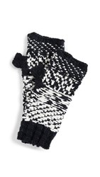 Free People Keep Cozy Knit Fingerless Gloves Black And White Combo