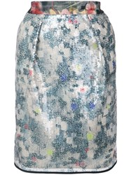 Harvey Faircloth Floral Sequin Skirt Blue