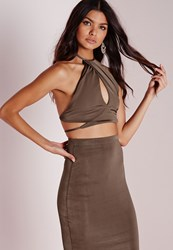 Missguided Slinky High Neck Wrap Front Crop Top Taupe
