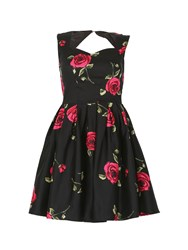 Izabel London Sweetheart Floral Prom Dress Black