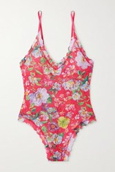 Hanky Panky Superbloom Scalloped Floral Print Stretch Lace Thong Bodysuit Red