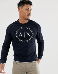 Armani Exchange Circle Logo Crew Neck Sweat In Navy