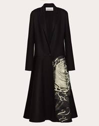 Valentino Compact Drap Coat With Applied Undercover Print Multicoloured Virgin Wool 95 Cashmere 5