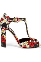 Dolce And Gabbana Crystal Embellished Printed Brocade Mary Jane Pumps
