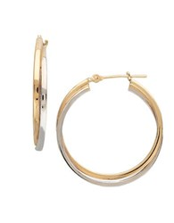Lord And Taylor 14K Yellow White Gold Hoop Earrings Two Tone