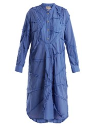 By Walid Patchwork Cotton Shirtdress Blue