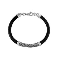 Effy Sterling Silver And Leather Braided Bracelet Black