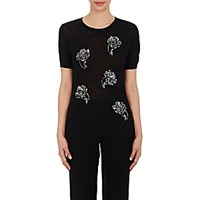 Prabal Gurung Women's Sequin Short Sleeve Sweater Black