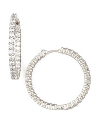 30Mm White Gold Diamond Hoop Earrings 2.84Ct Roberto Coin Red