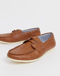 New Look Faux Leather Boat Shoes In Tan