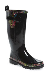 Sakroots Women's 'Rhythm' Waterproof Rain Boot Black Rainbow Spirit Desert