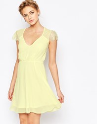 Elise Ryan Lace Mini Skater Dress Lemon Yellow