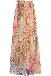Just Cavalli Printed Cotton And Silk Blend Maxi Skirt Multi