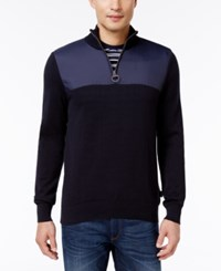 Barbour Men's Teflon Coated Quarter Zip Sweater Navy