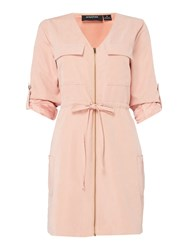 Minkpink Mink Pink Empire Zip Front Shirt Dress Blush