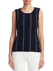 Emporio Armani Textured Silk And Cashmere Tank Top Solid Blue