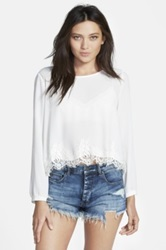 Astr Lace Hem Long Sleeve Blouse Juniors White