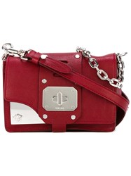 Versace Metallic Panel Shoulder Bag Women Leather Metal One Size Red