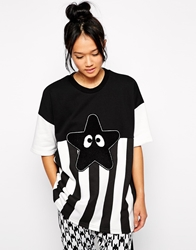 Mini Cream Star Fish Stripe T Shirt Black