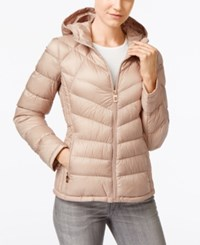 Michael Kors Petite Hooded Quilted Packable Down Puffer Coat Only At Macy's Champagne