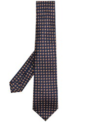 Kiton Dot Pattern Tie Blue