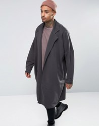 Asos Extreme Oversized Longline Jersey Duster Coat In Washed Black Olive