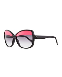 Courreges Plastic Butterfly Sunglasses With Lid Black Pink
