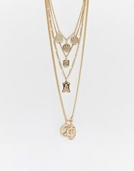 Reclaimed Vintage Inspired Multi Row Necklace With Coin And Cross Pendant Gold