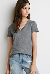 Forever 21 Classic V Neck Tee Heather Grey