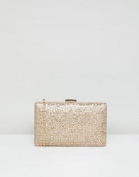 True Decadence Gold Sparkle Box Clutch Bag