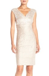 Women's London Times Lace And Pleat Satin Sheath Dress Sand Dollar