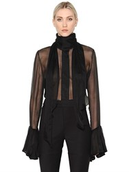 Ellery High Neck Silk Chiffon Shirt
