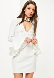 Missguided Petite Exclusive White Frill Sleeve Choker Neck Dress