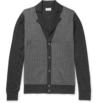 Brioni Silk Wool And Cashmere Blend Cardigan Gray