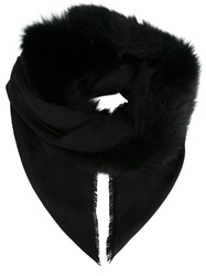 Elie Saab Fur Trim Scarf Black